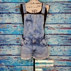 Mossimo Jean Overall Shorts with lace fringe